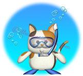 シュノーケルを付けた猫のイラスト