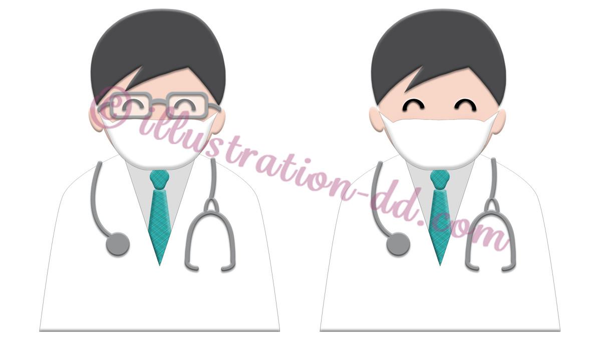 マスクをした簡単シンプルな医師のイラスト