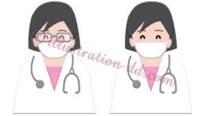 マスクをした簡単シンプルな女性医師のイラスト