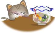 金魚を狙う猫のイラスト