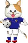 サッカーボールを抱える猫の選手のイラスト