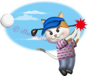 猫ゴルファーがティーショットを打つイラスト