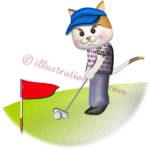 猫ゴルファーがパッティングするイラスト