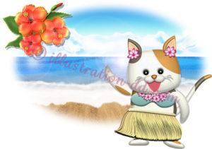 ハワイのフラダンサー猫のイラスト