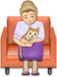 猫を抱くお婆さんのイラスト