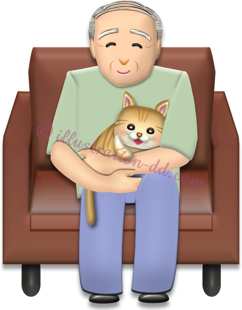 猫を抱くお爺さんのイラスト