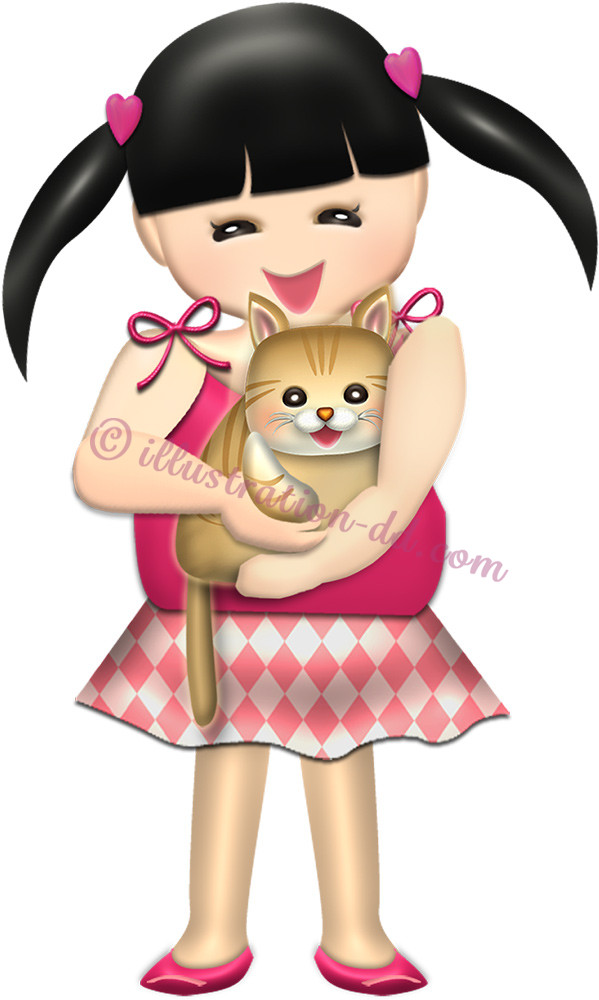 猫を抱く女の子のイラスト