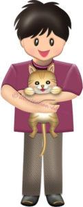 猫を抱く男の子のイラスト