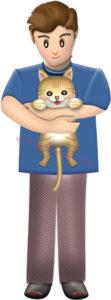 猫を抱っこする男性のイラスト