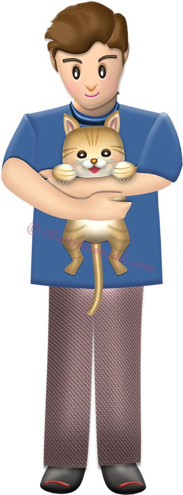 猫を抱く男性のイラスト