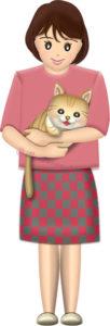 猫を抱く女性のイラスト