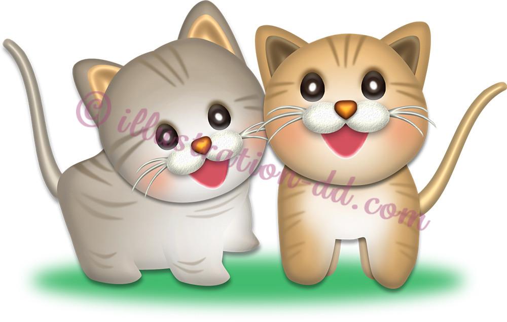 子猫の兄弟のイラスト