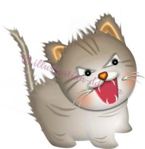 毛を逆立てて威嚇する子猫のイラスト