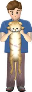 抱っこされて伸びる猫のイラスト