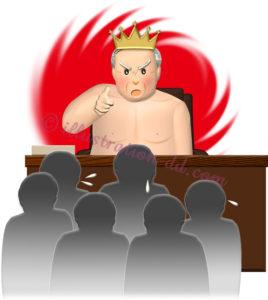 裸の王様になっているワンマン社長のイラスト