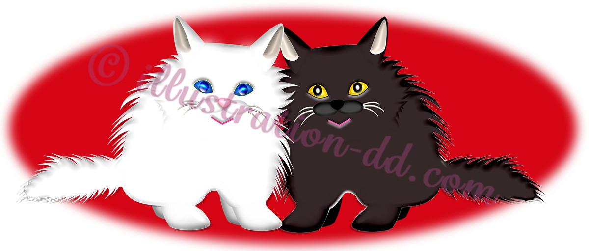 お洒落な黒白ペルシャ猫・赤背景のイラスト