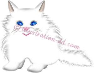 ペルシャ猫・白のイラスト