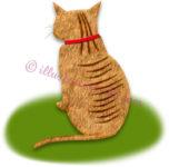 後ろ向きの猫のイラスト