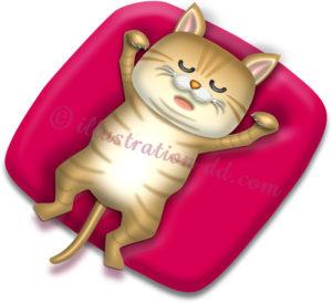 仰向けで眠る猫のイラスト