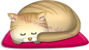 丸まって眠る猫のイラスト