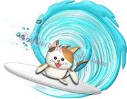 サーフィンする三毛猫のイラスト