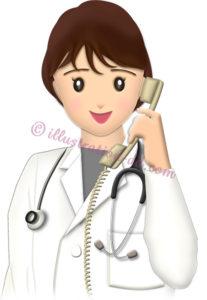 電話する女性のお医者さんのイラスト