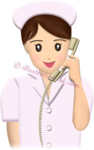 電話する看護婦(ナース)さんのイラスト