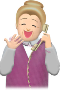 大笑いして電話するお婆さんのイラスト