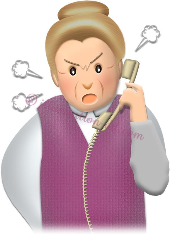 怒って電話するお婆さんのイラスト