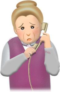 心配顔で電話するお婆さんのイラスト