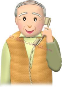 電話しているお爺さん・普通顔のイラスト