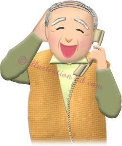 大笑いして電話するお爺さんのイラスト