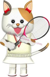 テニスラケットを持つ♀猫の選手のイラスト