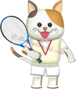 テニスラケットを持つ♂猫の選手のイラスト
