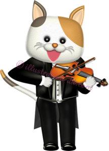 ヴァイオリンを弾く猫のイラスト
