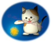 線香花火を持つ猫のイラスト
