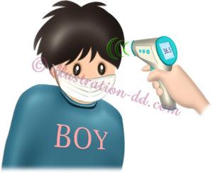 非接触式体温計で検温される男の子のイラスト