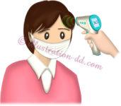 非接触式体温計で検温される女性のイラスト