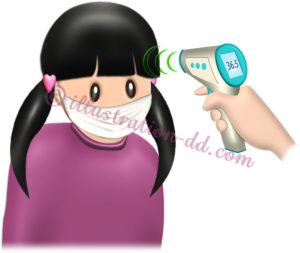 非接触式体温計で検温される女の子のイラスト