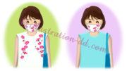 コスモス柄マスクを付けた女性のイラスト