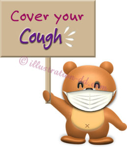 「Cover your Cough」ボードを持つクマのイラスト