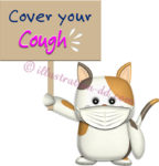 「Cover your Cough」ボードを持つ猫のイラスト