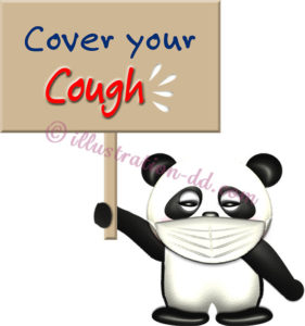 「Cover your Cough」ボードを持つパンダのイラスト