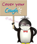 「Cover your Cough」ボードを持つペンギンのイラスト
