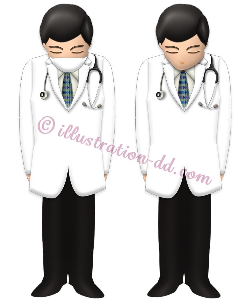 お辞儀する白衣のお医者さんのイラスト