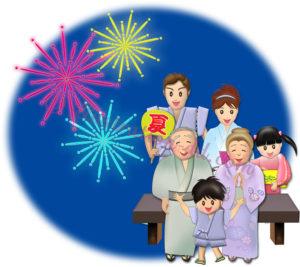 花火見物する浴衣の三世代家族のイラスト