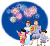 花火見物する浴衣の四人家族のイラスト