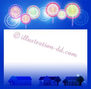 花火と家並みの飾り枠イラスト