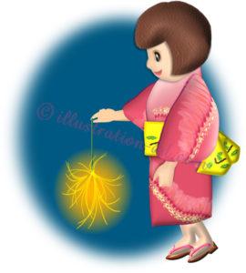 線香花火を持つ浴衣の女の子のイラスト