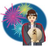 尺玉を持つ女性の花火師のイラスト